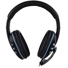 USB-Gaming-Headset, bequeme über-Ohr-Kopfhörer mit Mikrofon Mikrofon Leder Wired Stereo-Headset für Sony PS4Xbox One Spiele PC Skype Tablet Laptop blau blau