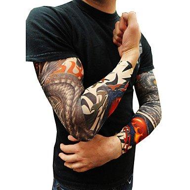 10er Set Body Art Armstrümpfe verrutschen Zubehör gefälschte temporäre Tätowierung Ärmel, Tiger, Krone Herz, Schädel, Stammes- Form (Stamm Schädel,)