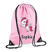 Campus Sports Personalised Drawstring Bag Gym Bag with Unicorn, Girls, PE Kit Bag, Swimming Bag