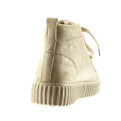Angkorly - Scarpe Moda Sneaker zeppe alti donna Tacco zeppa piattaforma 4 CM Beige