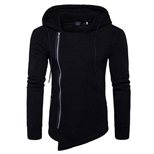 Bluestercool Hoodie Felpe Uomo Felpa Lunga Uomo Con Cappuccio Elegante Pullover Cotone Sweatshirt Nero