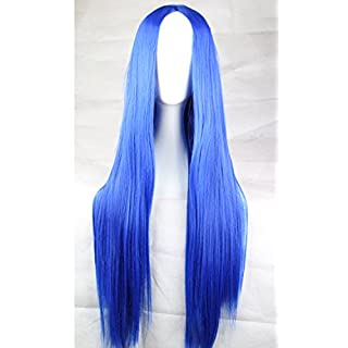 Womens Ladies Girls 75cm Blue Color Long Straight High Quality Hair Carve Cosplay Costume Anime Party Bangs Full Sexy Wigs