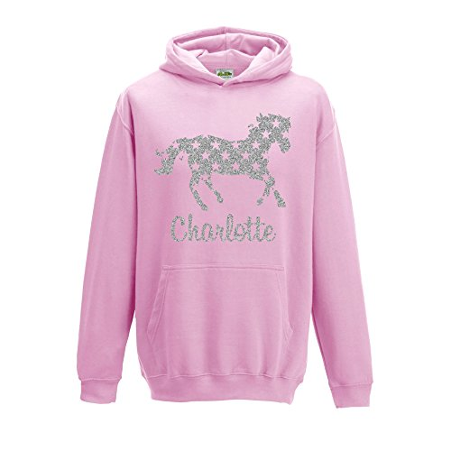 41P rWQYq6L BEST BUY UK #1[ Kids ] Personalised Horse Silver Glitter Hoodie Choose Your Name and Colour (5 6, Baby Pink) price Reviews uk