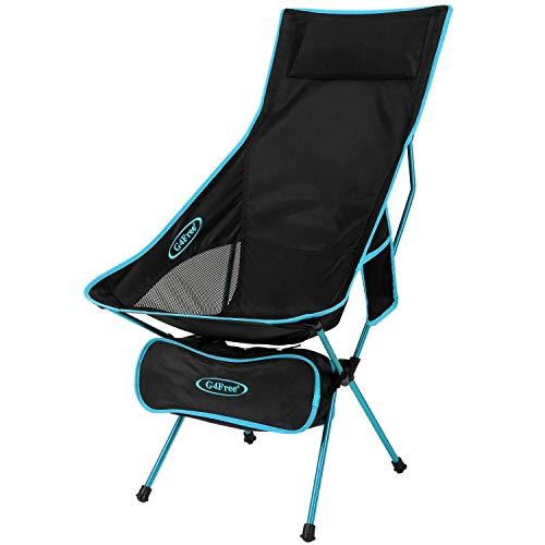 G4Free Leichter Tragbarer Campingstuhl mit Hoher Rückenlehne Outdoor Faltbarer Rucksackreise-Stuhl für Sport Picknick Strand Wandern Angeln