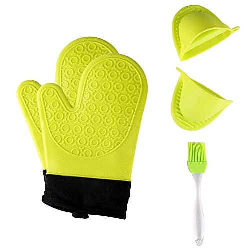 Jonhen Heat Resistant Silicone Oven Gloves Non-Slip with Cotton Lining for Kitchen Baking - Oven Mitts 1 Pair, Bonus Brush & Pot Holder (green)