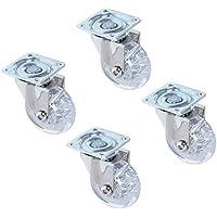 roultou/GPI–Juego de 4ruedillas transparentes pivotantes, diámetro de 35mm, placa de 42x 42mm [carga soportada de 20kg/ruedilla]