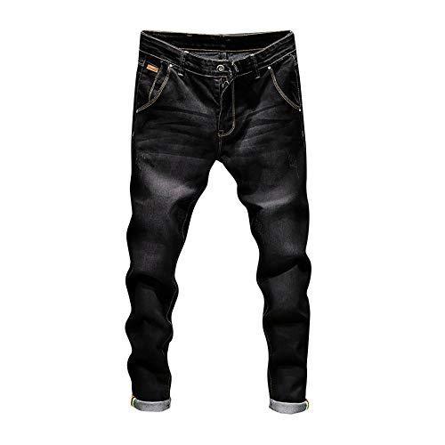 MäNner Herren Casual Herbst Denim Baumwolle Vintage Wash Hip Hop Arbeit Hosen Jeans Slim Biker Zipper Skinny Ausgefranste Hose Style Jogginghosen Lose Jogger Jeanshose Straight(Schwarz,38)
