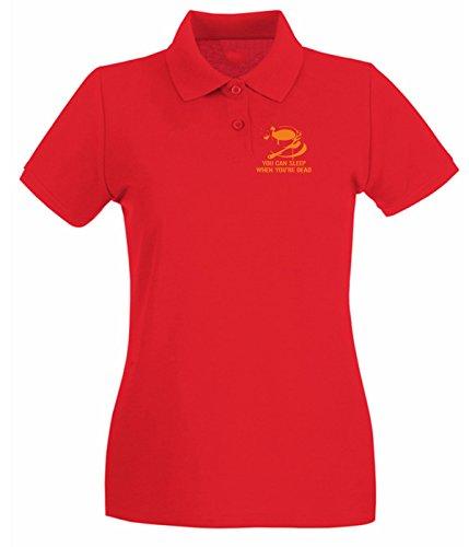 T-Shirtshock - Polo pour femme FUN1030 coffee sleep ringer t Rouge