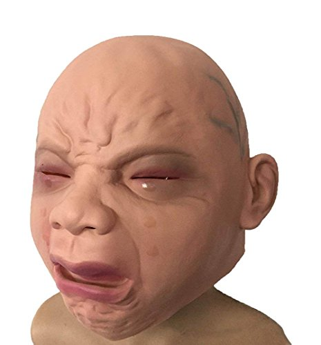 WWSUNNY Neuheit Latex Rubber Creepy Cry Baby Gesicht Kopf Maske Halloween Christmas Party Kostüm Dekorationen Erwachsenen Zubehör