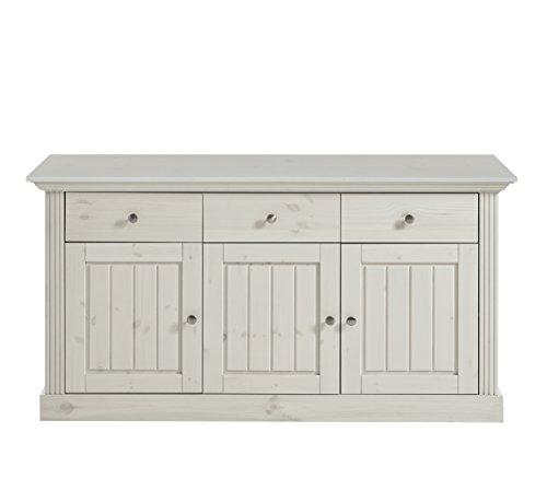 Steens Monaco Sideboard, 3 Türen, 3 Schubladen, 145 x 78 x 46 cm (B/H/T), Kiefer massiv, weiß