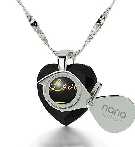 Pendentif Coeur - Bijoux Romantique en Argent 925 avec I Love You et le symbole de l'infini inscrits à l'Or 24ct sur un Zircon Cubique en Forme de Coeur, 45cm - Bijoux Nano Noir