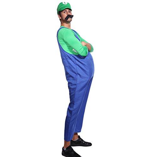 Gruen + Blau Gr.XL Super Mario & Luigi Klempner Kostuem Halloween Karneval Verkleidung Herren (Luigi Und Mario Paar Kostüme)