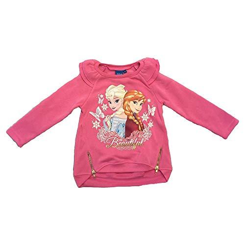 Felpa maxi maglietta frozen elsa anna disney bambina sun city taglie 4/8 anni - rh1095fuxia