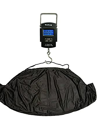 Fishing Weighing Electronic Digital Scale 50KG and NGT Carp Weigh Sack Sling Kit with Hook by Trident Goods