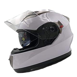 NATHUT Motorradhelm Integralhelm mit Sonnenblende - Motorrad Helm - ECE (L 58-60cm, weiß)