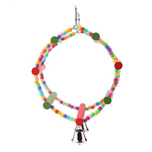 Pssopp Vogelspielzeug Vogelschaukel Bunte hölzerne Papagei Schaukel Spielzeug kreisförmige hängende Schaukel mit Glocken für kleine mittlere Vögel