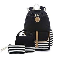 حقيبة ظهر مدرسية للبنات المراهقات بصندوق غذاء وحافظة اقلام 3 في 1، حقيبة من القماش للنساء لاغراض السفر، حقيبة ظهر لطلاب الابتدائية