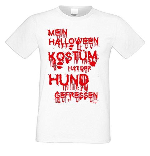 Kurzarm Halloween T-Shirt Herren : Mein Halloween Kostüm hat der Hund gefressen Party Outfit Männer Übergrößen bis 5XL Farbe: Weiss Gr: ()