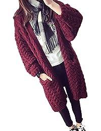 abac56cead76 Chaqueta De Punto Mujer Largos Otoño Ropa Invierno Espesor Termica Abrigo  Tejido Elegantes Moda Anchos Casuales