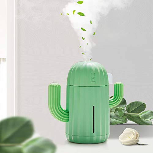 YINGJEE Humidificador Cactus Portátil con LED luz de Noche Difusor Ultrasónico silencioso de Aire 340 ml para Bebé,Yoga,Oficina,Dormitorio,Regalo,Decoración (Verde)