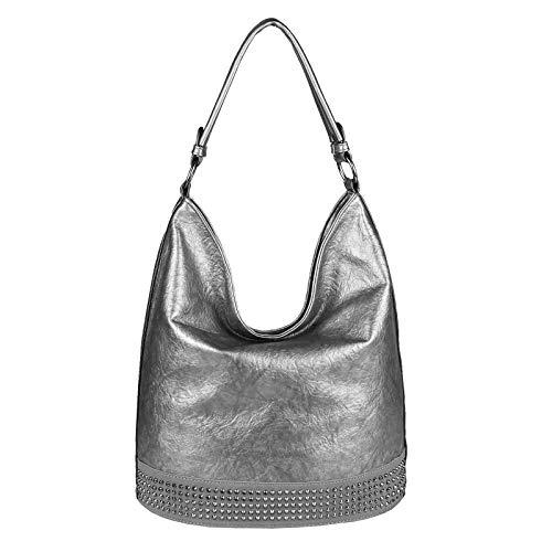 Antik Leder Gepäck (OBC Damen Tasche Shopper Metallic Hobo-Bag Handtasche Nieten Schultertasche Umhängetasche Leder Optik Henkeltasche Beuteltasche Bowling Tote Bag (Antik Silber 37x34x19 cm))