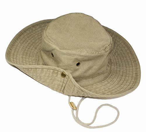 TOSKATOK® UPF 50+ Unisex Safari Outback Australischer Buschhut mit breiter Krempe, Kinnriemen, seitlichen Druckknöpfen und Lüftungsschlitzen, aus Baumwolle-Khaki
