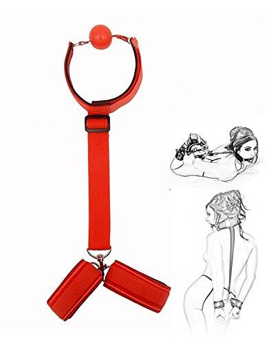 Preisvergleich Produktbild Halsband mit atmungsaktiv Mund Ball und Hand Bands für Paare Spielen