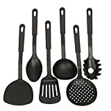 #5: Sunam'S Kitchen Tool Set - Ladle, Slotted Spoon, Slotted Turner, Spaghetti Server, Flexible Turner, Solid Spoon - Non Stick - Non Scratch - Heat Resistant - Nylon Cooking Utensils Set of 6 Piece