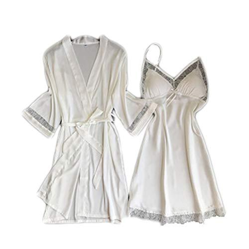 Encaje Albornoz,Ⅴ-Collar Satén Ⅴestido Nightgown Short Robe Kimono con Bel Conjunto Corto De Dos...