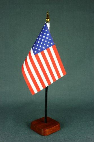 Buddel-Bini Kleine Tischflagge USA 15x10 cm mit Tischflaggenständer 30 cm aus Holz, sehr standfest