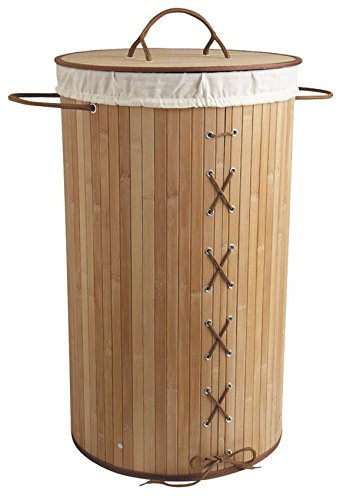 Panier à linge pliable en bambou, Ø 35 x H 60 cm -PEGANE-