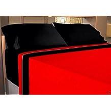 JUEGO SÁBANAS ROJO-NEGRO 135 (IMAGEN ORIENTATIVA) VERANO 3X PIEZAS cama 135/190-200 MICROFIBRA (fácil planchado y duradera) sábana bajera ajustable, funda almohada (1) y encimera y PACK CALCETINES MARCA RegalitosTV (anti-presion)