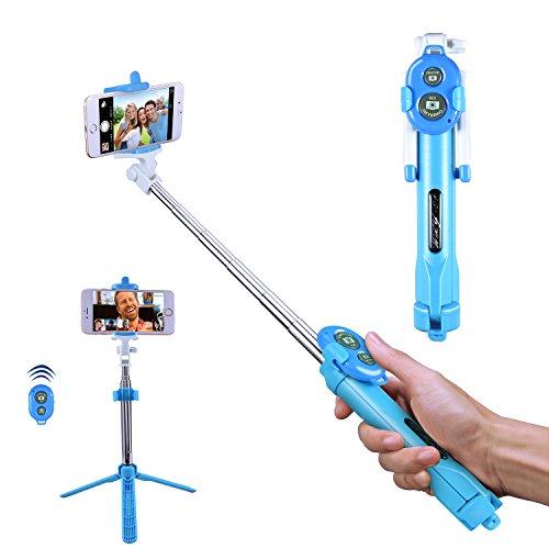 Bluetooth Selfie Stick, Alfort Multifunktionaler Selfie Stangen Erweiterbar Ausfahrbar Stab mit Stativ und Bluetooth Fernbedienung für iPhone 7 / 6S / 6 Plus / SE / 5S / 5C / 5, Samsung Galaxy S7 / S7 Edge, LG G6, HTC M9 M8, Sony Z5 Z4 Z3 Compact, Android und andere Smartphones ( Himmelblau )