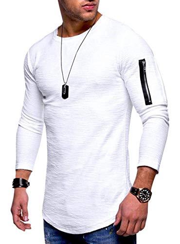 AitosuLa Langarmshirt Herren Long Sleeve T-Shirt Rundhals Einfarbig Base Tops Oberteile Langarm Shirt Slim Fit Basic Casual Tee Pullover Bluse Weiß XL