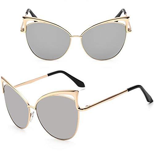QG Ypdes Damen cat Eye Sonnenbrille Frauen Sonnenbrille Legierung Rahmen uv400 Schutz Designer Retro cat Eye Brille, Silber