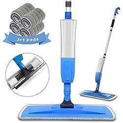 Bellababy Balais Serpillère avec vaporisateur, Spray Mop Avec 4 tampons en microfibre et 1 Raclette de Douche, Vadrouille Rotation à 360 °, Balai Sol Plat Contenance 450ml, Bleu