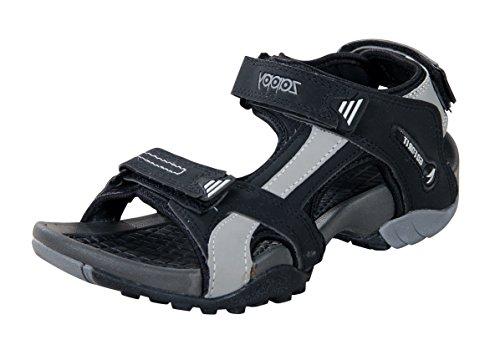 Zappy Men Black & Grey Floater Sandals - 9 UK