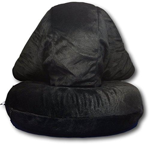EKNA Kapuzen-Nackenkissen | Nackenhörnchen | Nackenrolle | Reisekissen | Memoryschaumstoff + Schlafmaske + Ohrenstöpsel (Schwarz)