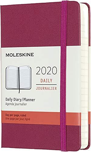Moleskine 12 Mesi 2020 Agenda Giornaliera, Copertina Rigida e Chiusura ad Elastico, Colore Rosa Brillante, Dimensione Pocket 9 x 14 cm, 400 Pagine