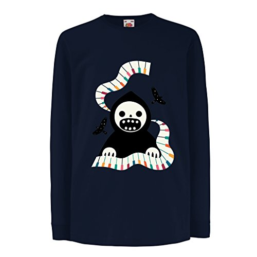 angen Ärmeln Halloween Horror Nights - The Death is Playing on Piano - cool Scarry Design (3-4 Years Blau Mehrfarben) ()