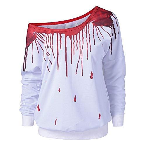 TEBAISE Damen Frauen One Shoulder Bluse Langarm Shirt Kurzarm Casual Sommer T-Shirt Oberteil Tops Pullover (Weiß 2,5XL)