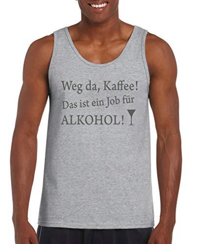 Comedy Shirts - Weg da Kaffee! Das ist EIN Job Fuer Alkohol! - Herren Tank-Top - Graumeliert/Grau Gr. M