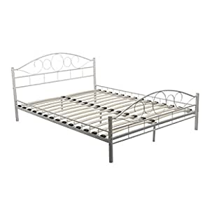vidaxl metallbett metall doppelbett bettrahmen bettgestell lattenrost 140x200 cm. Black Bedroom Furniture Sets. Home Design Ideas