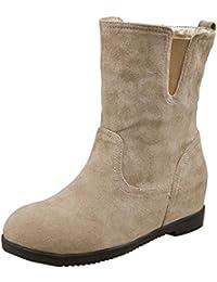 c4c577791 LuckyGirls Cuñas Botas de Algodón para Mujer Color Puro Botines Botas  Casual Calzado Zapatillas Zapatos Aumento