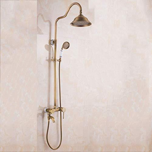 GWFVA Badezimmer-Duschmischer-Set, Duschset im europäischen Retro-Stil, Keramiksockel, Multifunktion, Kupfer, Duschkopf