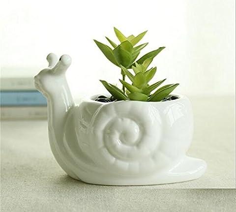 Joli pot de fleurs blanc en porcelaine, mini décorations pour vase de bureau, pot de fleurs en céramique en forme d'animal de Somarke, décoration pour jardin, maison Escargot