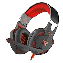 Bengoo Gaming Headset Comfortable 3.5mm Stereo Over-ear Headphone Headband With Led Lighting For Pc Computer Game With Noise Isolation & Volume Control(red)