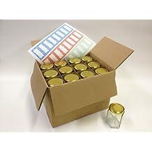Nutley's - Juego de tarros de cristal hexagonales (24 unidades, 190 ml, incluye 24 etiquetas)