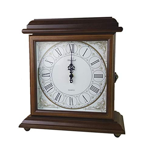 LQUIDE Relojes de Chimenea Familiares Reloj de Mesa Retro de Dos Caras Reloj de Mesa de Madera silencioso...