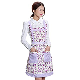 Amybria Novelty Women Cotton Apron Chefs Cooking Apron Double Pockets for Kitchen Cooking BBQ Waitress Purple With Flowers